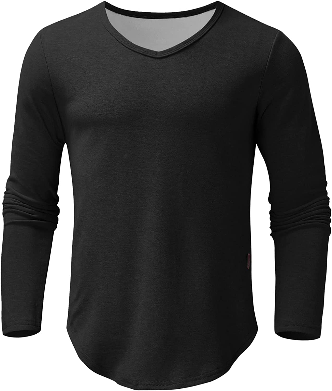 xoxing Long Sleeve for Men Plus Size Casual Loose V-Neck Solid Fit Pleated Shirt Blouse Fitness Pullover