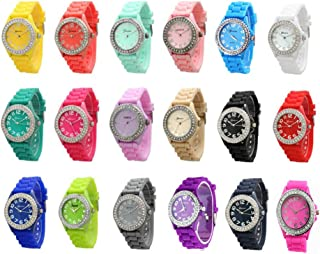 Women 10 Assorted Crystal Rhinestone Large Face Watch Silicone Jelly Link Band