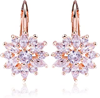 Rose Gold White Gold Plated Snowflake Leverback Earrings with Cubic Zirconia for Women Girls CZ Jewelry Fashion Drop Earrings