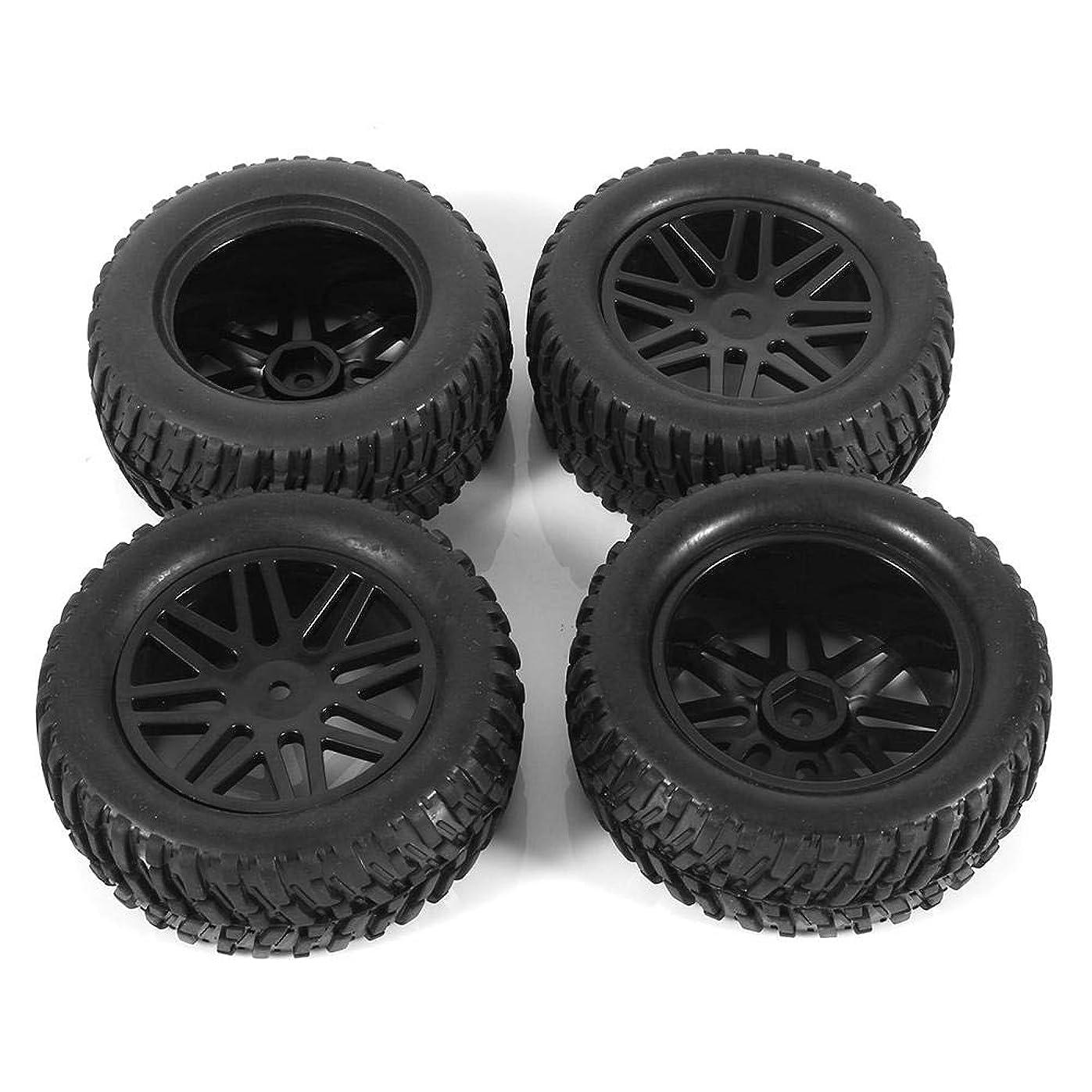 寄付する周りブラウンRCカー ハブ&タイヤ スペアパーツ ホイール リム & ゴムタイヤ ショートコース トラック適用 1/10 ブラック 4個