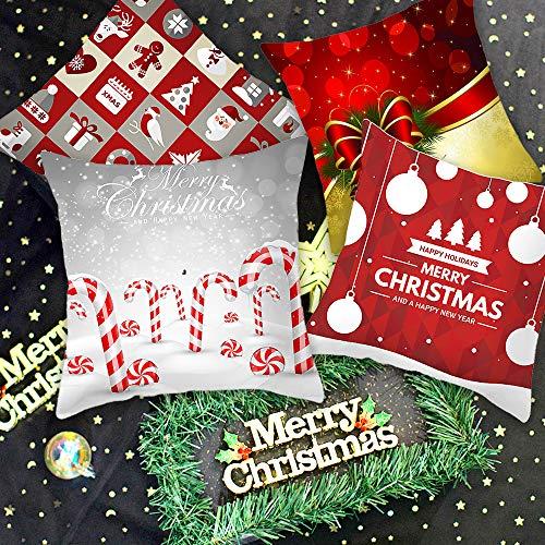 Homo Trends Christmas Decorations Set of 4 Christmas Cushion Cover Pillow Cover Pillowcases, Christmas Bell, Christmas Cane, Snowman Sofa Cushion Cover for Home Christmas Favor, 45cmx45cm