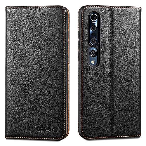 LENSUN Echtleder Hülle für Xiaomi Mi 10, Xiaomi Mi 10 Pro Leder Handyhülle Magnetverschluss Handytasche kompatibel mit Xiaomi Mi 10/10 Pro (6,67 Zoll) – Schwarz(M10-DC-BK)