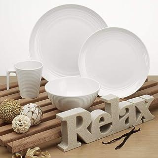 Vaisselle en mélamine de camping pour 4 personnes monaco 16 pièces, passe au lave-vaisselle/couverts table de camping/pique-nique