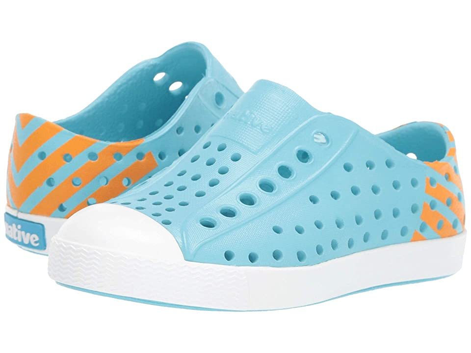 Native Kids Shoes Jefferson Glow Block (Toddler/Little Kid) (Hamachi Blue/Shell White/Lazer Glow Block) Kids Shoes