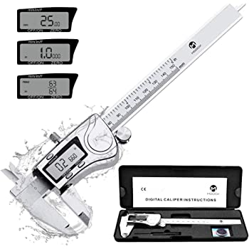 MOOCK Digital Caliper, Durable 6inch/150mm Stainless Steel Electronic Measuring Tool Vernier Calipers, Inch Fractions Milimeter Conversion, IP54 Protection Accurate Gauge with LCD Screen