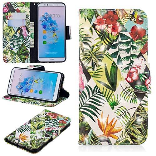 GFMING con El Sostenedor Y Ranuras For Tarjetas Y Monedero, El Patrón del Dibujo Teñido 3D Funda De Cuero Paso Horizontal For Huawei Honor 7A&Y6 Funda para teléfono móvil (Pattern : Banana Leaf)