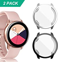 YUANHOT Compatible Galaxy Watch Active Case, 2 Pack Soft TPU Screen Protector All-Around Scractch-Resist Protective Case Cover for Galaxy Watch Active 40mm Smartwatch (Black/Silver)