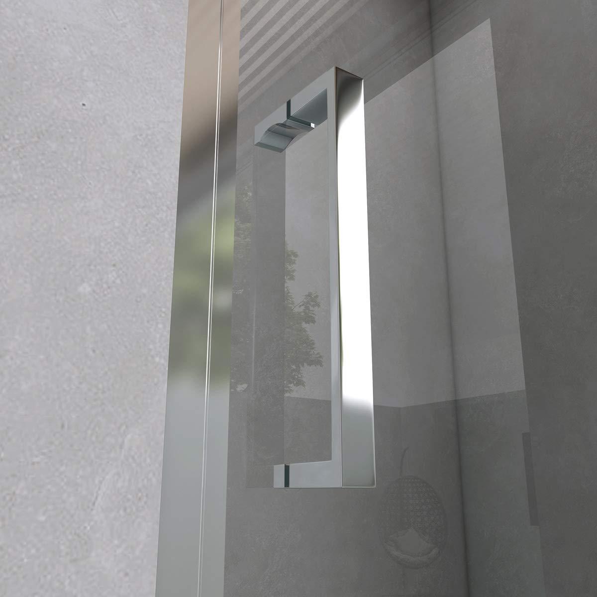Yellowshop - Mampara de ducha con puerta corredera de vidrio templado de 6 mm, transparente o puntillado, disponible en varias medidas, transparente: Amazon.es: Bricolaje y herramientas