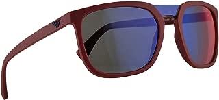 Emporio Armani EA4123 Sunglasses Matte Red w/Dark Grey Mirror Blue Red Lens 58mm 57206P EA 4123