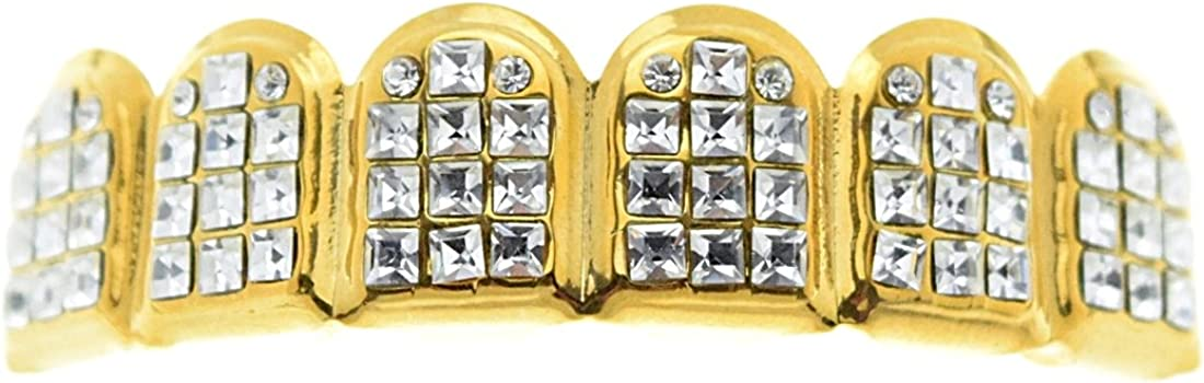VIP Grillz Iced Six Tooth Top Upper Grill 14k Gold Plated Princess-Cut Teeth Grills