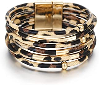 Multi-Layer Handmade Leather Bracelet Braided Wrap Cuff Bangle with Alloy Magnetic Clasp Beaded Wrist Bracelets Jewelry for Women Gift