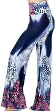 Sunmoot Wide Leg Pants for Women Stretchy High Waist Boho Print Pajama Yoga Pants Palazzo Trousers