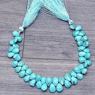 Briolette de piedras preciosas turquesas naturales | Perlas de pera de 9 mm a 11 mm Fila de 8 pulgadas | Cuentas sueltas f...