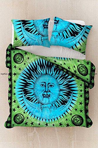Exclusif Tye Dye Sun Moon à la main Quit Cover housse de couette en coton Bohème Mandala avec taie d'oreiller Mandala housse Doona, housse de couette Doona Inde ensemble de couette (Green-Turquoise)