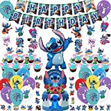 106PCS Lilo and Stitch Party Supplies, Lilo and Stitch Birthday Decorations include Stitch Foil Balloon, Balloons, Cake Toppers, Birthday Banner, Stitch Stickers,Hanging Swirls for Kids and Adults