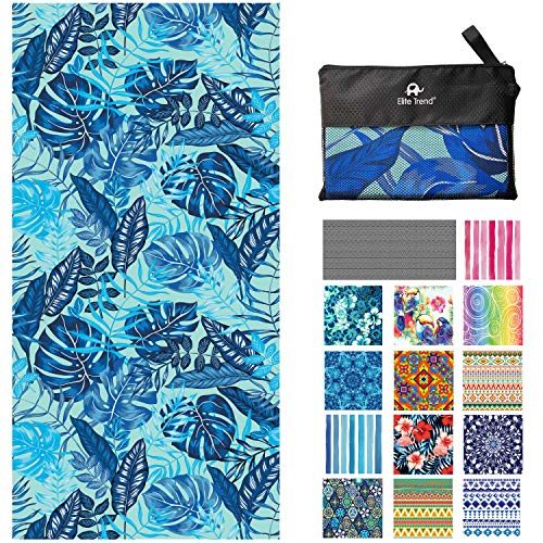 Microfiber Quick Drying Beach Towel for Travel - Extra Large XL 78x35 Palms Oversized Swim, Pool, Yoga, Traveling