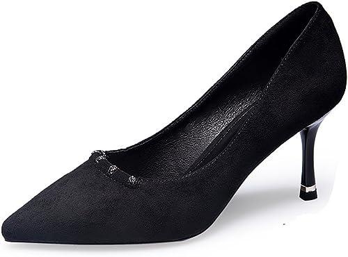 JIANXIN Conseils Sexy Pour Femmes Au Printemps Et En été Avec Un Seul Style De Chaussures élégantes Et Talons Hauts Avec Des Chaussures Pour Femmes. (Couleur   Noir, taille   37)