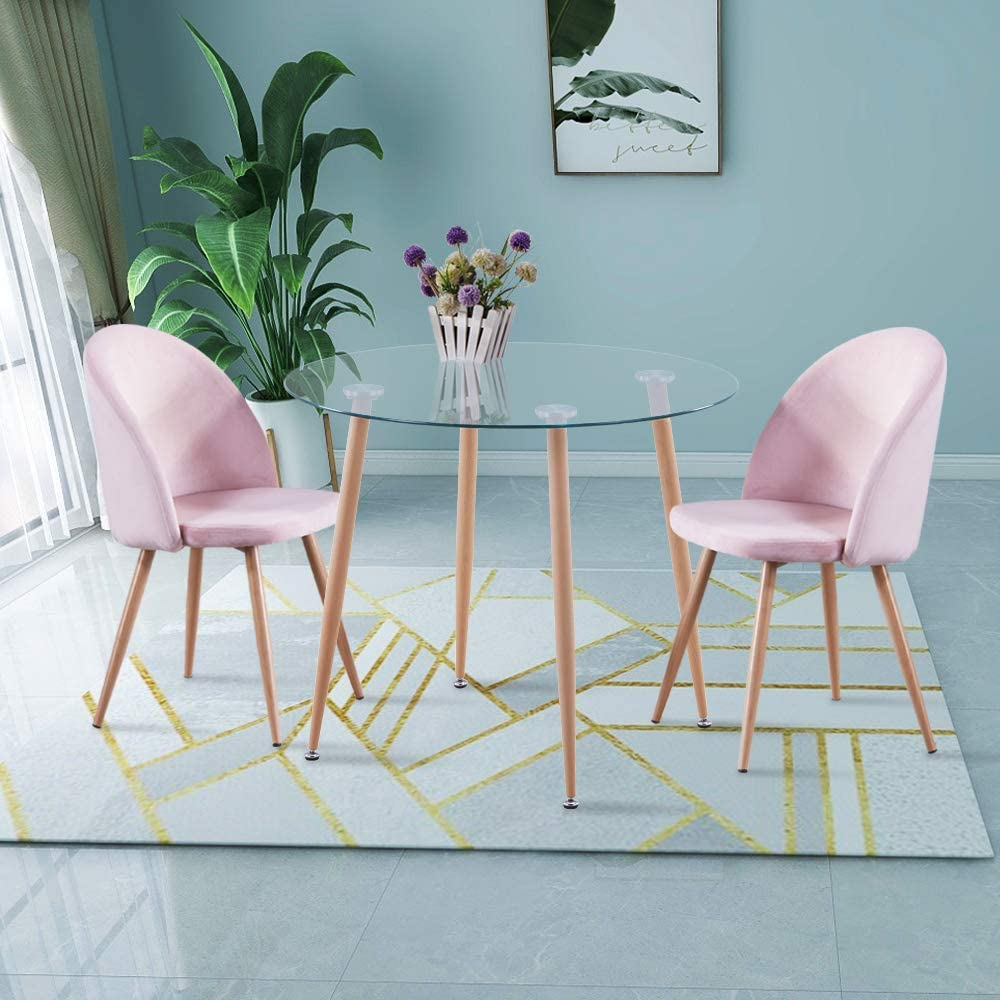 GOLDFAN Small Round Dining Table and 9 Chairs Modern Glass Kitchen Table  and Velvet Dining Chairs Kitchen Dining Table Set Pink,9cm [Energy Class  ...