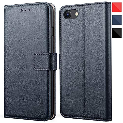Ganbary Cover iPhone SE 2020/7/8, 360 Protettiva Caso in PU Pelle Premium Portafoglio Custodia per iPhone SE 2020/7/8, [Kickstand] [Slot per Schede]-Blu