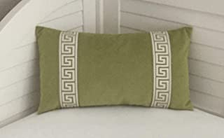 alerie Sassoon Pear Green Velvet Designer Pillowcase Cover with Greek Key Trim Tape Lumbar Pillowcase Cover