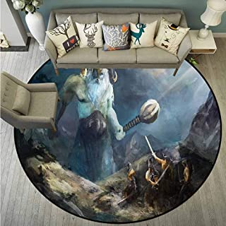 Area Round Rugs,Viking,Heroes of Valhalla Nordic,for Outdoor and Indoor,2'11