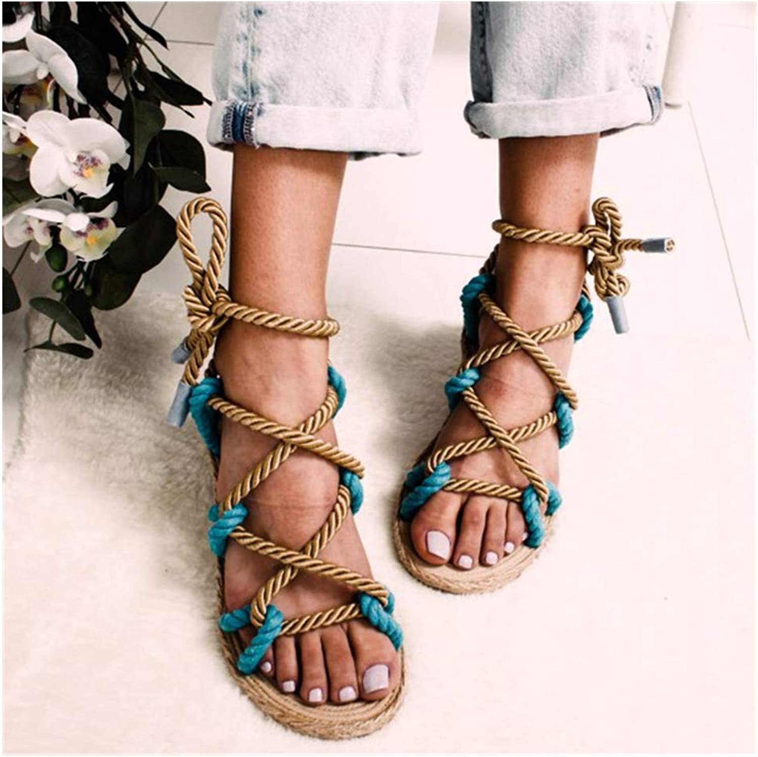 Women Sandals Rome Hemp Rope Women Sandals, Casuals Gladiator Cross Tied Women shoes,bluee,8US