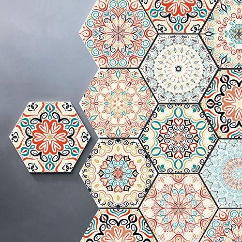Prior.choice - Adhesivo para Azulejos (10 Unidades), diseño de hexágono marroquí, Color Rosa