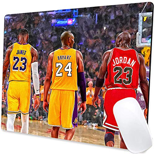 Jordan Kobe James Poster Design Gaming Mouse Pad Non-Slip Rubber Base Mouse Pads Basketball Mousepads for Computers Laptop Office, 9.5'x7.9'x0.12' Inch(240mm x 200mm x 3mm)