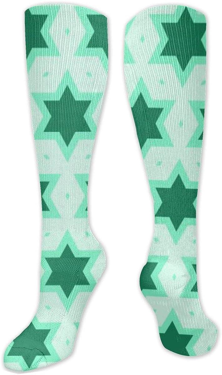 Green Star Patterns Knee High Socks Leg Warmer Dresses Long Boot Stockings For Womens Cosplay Daily Wear