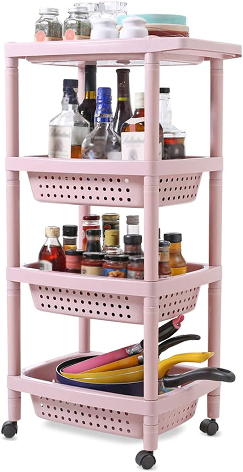 HUYP Pink Kitchen Shelf Removable Floor 4 Layers Plastic Vegetable and Fruit