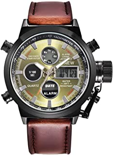 Gift Watch! Wensltd Men's Watch Wrist Dual Time LED Digital Analog Quartz Movt Steel Band (Coffee-1)