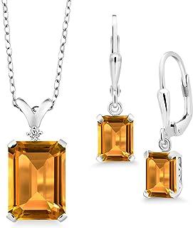 Gem Stone King 925 Sterling Silver Yellow Citrine Pendant Earrings Set For Women (11.52 Cttw, Emerald Cut, Gemstone Births...