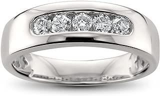 14k White Gold 5-Stone Round Diamond Men's Comfort Fit Wedding Band Ring (1/2 cttw, H-I, I2-I3)