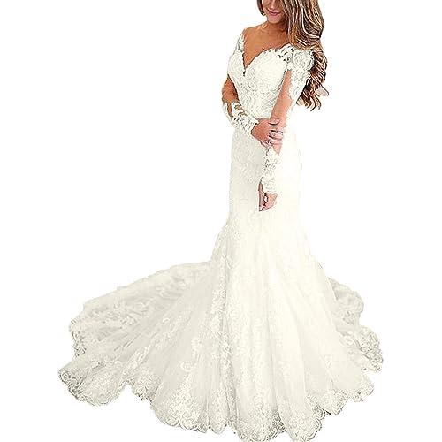 Long Sleeves Bridal Dresses Wedding Dresses Amazon Com