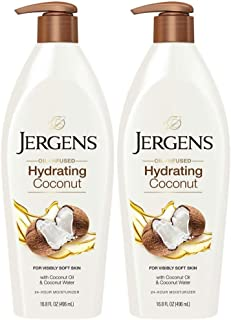 Jergens Hydrating Coconut 16.8 Ounce Lotion Pump (496ml) (2 Pack)