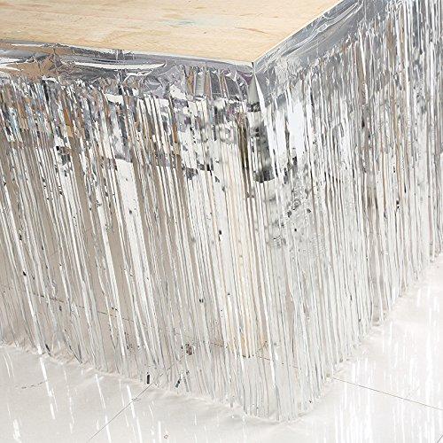Table Dressing Table Jupe en plastique pour la partie Couvertures de table Décoration d'anniversaire de mariage Décoration intérieure, 74x274cm (1PC) , silver 74*274cm