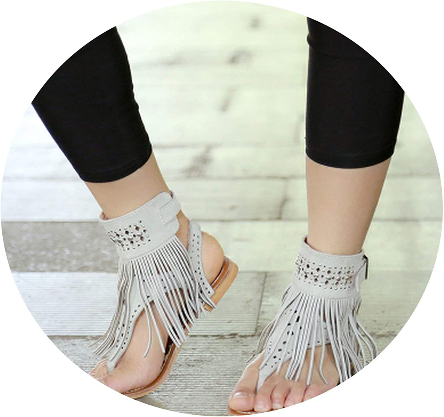 APROUDpink Women Bohemian Sandals Flat Sandals Tassels Casual Summer shoes