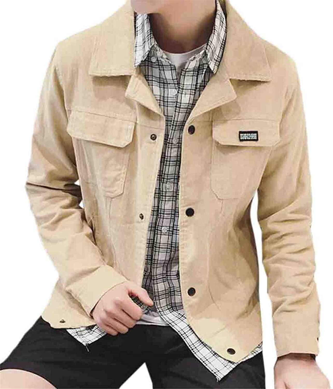 5032d3bb3a3e Nanquan Men Casual Coat Outerwear Outerwear Outerwear Corduroy Slim Fit  with Pockets Jacket 0e3bf2