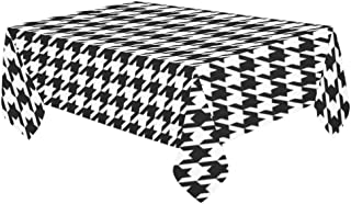 InterestPrint Classical Black And White Houndstooth Checkered Pattern Tablecloth Decorative Rectangle Cotton Linen Washable Table Cover for Dinner Kitchen Home Decor, 60 x 104 Inch