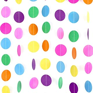 RUBFAC 66ft 5pcs Colorful Party Paper Garland Circle Dots Hanging Rainbow Decorations for Birthday Party Wedding Decorations (66ft)