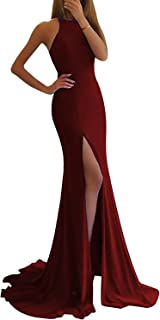LL Bridal Women's Sheer Neck Mermaid Prom Dresses 2018 Long Evening Formal Gown with Slit LLAP170