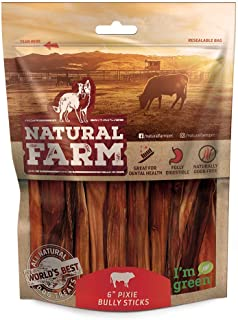 Natural Farm Pet 6-Inch Pixie Bully Sticks for Dogs (30 or 50 Pack)   Lighter, Extra Thin Treats   Farm-Raised, Grass-Fed, Grain-Free Beef   Odor-Free Digestible Chews…