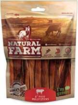 Natural Farm Pet 6-Inch Pixie Bully Sticks for Dogs (30 or 50 Pack) | Lighter, Extra Thin Treats | Farm-Raised, Grass-Fed, Grain-Free Beef | Odor-Free Digestible Chews…