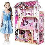 BAKAJI Casa de muñecas de Juguete para niños Fabricada íntegramente en Madera, 3 Pisos, 4...