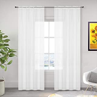 2 Panels White Sheer Curtain Rod Pocket Voile Tulle Window Curtains Panels Set 2 Semi Sheer Privacy Transparent Window Cur...