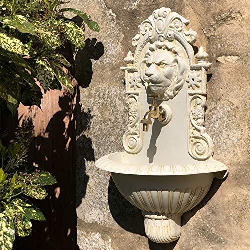 chemin_de_campagne Fontaine Tête de Lion Murale de Jardin Robinet Blanche 60 cm x 37 cm x 20 cm