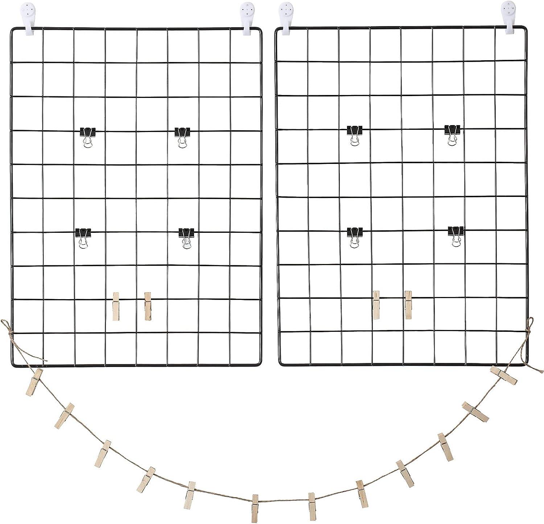SPITO Grid Photo Wall, Hanging Display Board, Metal Mesh Grid Panel, 16.5 × 12.2 Inches(2pcs), Wall Grid Organizer for Photo & Postcard Display, Memos & Cards Reminding, Wall Decor Black