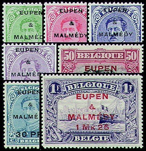 Goldhahn Ausgaben für Eupen und Malmedy Nr. 1-7 postfrisch- Briefmarken für Sammler