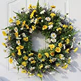 LAMF 22Inch Daisy Wreaths, Artificial Flower Spring Wreath for Front Door Window Wall Hanging, Summer Silk Decorative Wreath Decorations