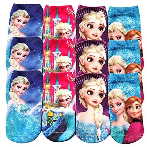 Qemsele Kinder Socken, 12 Paar Baumwolle Socken für Jungen Mädchen, Bunt Gemustert Strümpfe für kinder Kindergeburtstag Gastgeschenke Geburtstagsfeier Schule (2-5 Jahre alt: 7 * 15cm, Frozen)